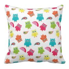 Cute Colorful Owl and Paisley Pattern Design Throw Pillows