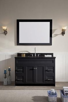"""ARIEL Hamlet 49"""" Single Sink Vanity Set with Absolute Black Granite Countertop"""