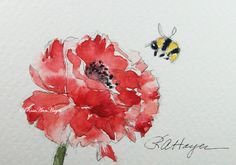 This is an original watercolor painting of a red poppy and a honey bee. The size is 2 ½ x 3 ½ inches, which is called ACEO size. ACEOs are small