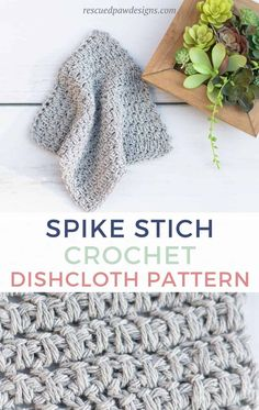 These modern dishcloths are a great addition to any kitchen! Learn how to crochet this simple herringbone half double crochet design today featuring the spike stitch! By: Rescued Paw Designs Quick Crochet, Double Crochet, Hand Crochet, Free Crochet, Crochet Beret, Crochet Dolls, Crochet Patterns For Beginners, Easy Crochet Patterns, Crochet Designs