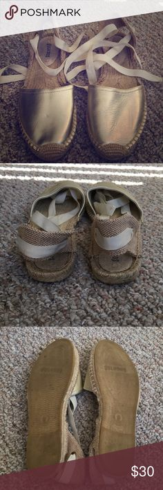 Gold lace up Soludos Gold Soludos with cream ribbon. Flats. Soludos Shoes  Espadrilles