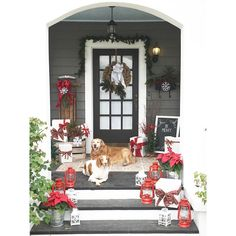 Traveler is panting because those three steps are tough on an old lady, oh and because it's like 85 degrees outside. asked me to share pillows but I thought I'd share these babies for her fun tag instead! Plus wants to see our exterior! Artificial Christmas Wreaths, Christmas Wreaths For Front Door, Christmas Porch, Family Christmas, Christmas Decorations, Holiday Decor, England Christmas, Christmas Entryway, White Christmas