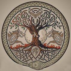 Yggdrasil, the World Tree – Norse Mythology-Vikings-Tattoo Tatto Viking, Norse Tattoo, Viking Art, Viking Runes, Celtic Tattoos, Viking Tattoos, Armor Tattoo, Warrior Tattoos, Viking Knotwork