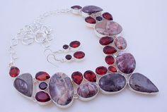 free shipping F-240 Garnet-Landscape Jasper .925 Silver Handmade Jewelry Necklace 115 Gr. by SILVERHUT on Etsy