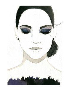 Watercolor Fashion Illustration - Smokey Eye Girl print