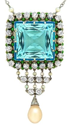 Aquamarine, Pearl & Diamond Art Deco Pendant