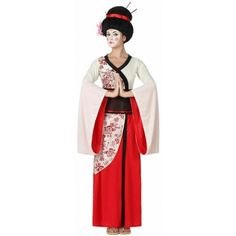 pour une soirée sur le thème asiatique et du pays du soleil levant, cette robe de geisha dans les tons blancs et rouges avec motifs de fleurs vous ira à ravir. Adult Costumes, Halloween Costumes, Kimono, Cosplay, Costume Dress, Elegant, Bff, Snow White, Disney Princess