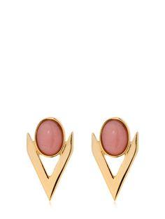 Iosselliani V Cabochon Pink Opal Earrings In Gold/pink Iosselliani, Opal Earrings, Pink Opal, Gold, Yellow