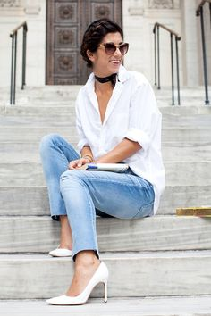 An Elevated White Shirt And Denim Look To Try Now