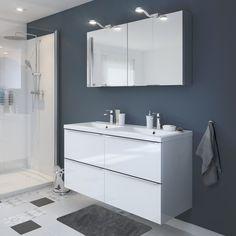 ce4beb9c5c851d Ensemble de salle de bains à poser Imandra blanc 120 cm meuble sous vasque  + plan Nira   Castorama