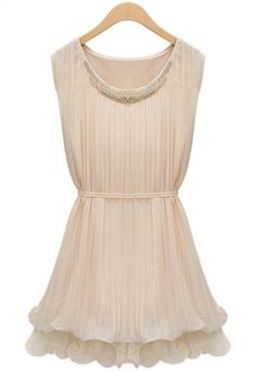Apricot Sleeveless Bandeau Bead Chiffon Dress pictures    I love this dress!
