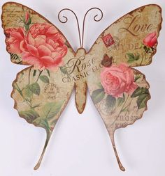 Shabby chic romantic rose print butterfly metal wall art Elegant and rustic shabby chic design Constructed from formed metal and. Decoupage Vintage, Decoupage Paper, Images Vintage, Vintage Cards, Vintage Ephemera, Vintage Pictures, Art Papillon, Decoration Shabby, Arts And Crafts
