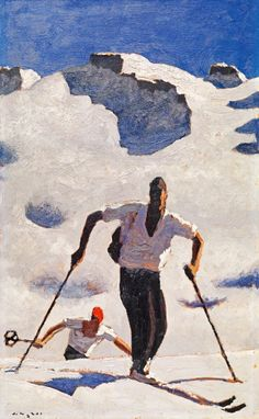 'Der Aufstieg' by Alfons Walde Art And Illustration, Illustrations, Vintage Ski Posters, Kunst Online, My Art Studio, Museum, Famous Artists, Figure Painting, Abstract Expressionism