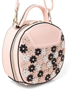 Quirky Circlular Round Floral Embellished Cross Body Bag Pink Womens Girls NEW Cross Body, Fashion Backpack, Crossbody Bag, Best Deals, Floral, Girls, Cute, Pink, Stuff To Buy