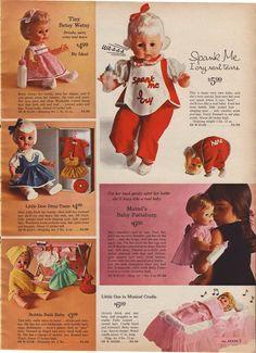 Sears wish book 1964. Spank me dolly. Retro toys. She cries real tears. Hahaha.  ;)