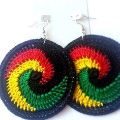 Four Colors Swirl Crochet Hoop Earrings by ImpressiveDesigns, $9.75