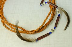 Braided Leather Hippie Headband for Women, Orange Triple Row Hair Accessory on Etsy, $27.00