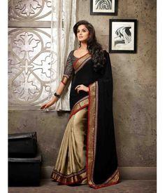 Black and Golden Color Satin Shimmer with velvet pallu Designer Sarees