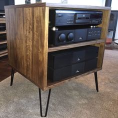 Walnut TV Hifi Rack Cabinet Retro Hairpin Legs | eBay