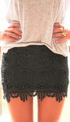 Black floral lace mini skirt and comfy blouse