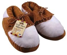 Golf Gifts & Gallery Clubhouse Collection Full Body Golf Shoe Slipper (Brown/White, Medium) by Golf Gifts & Gallery. $19.99. Golf Gifts & Gallery's Clubhouse Collection Golf Shoe Slippers are a great gift for yourself or the golf enthusiast in your life. These plush and comfortable slippers are made of nylon and polyester. They are soft to touch and soft on your feet! Sure to keep feet cozy and warm all winter long!