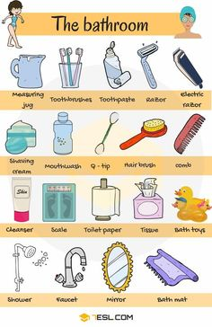 Bathroom Vocabulary: Bathroom Accessories & Furniture : Learn Bathroom Vocabulary in English through Pictures and Examples. A bathroom is a room in the home for personal hygiene … Learning English For Kids, Kids English, English Tips, English Language Learning, English Study, English Lessons, Teaching English, French Lessons, Spanish Lessons