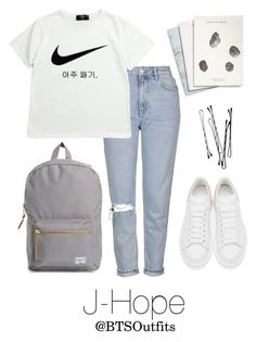"""""""School with J-Hope"""" by btsoutfits ❤ liked on Polyvore featuring Herschel Supply Co., Maison Scotch, Topshop, NIKE and Alexander McQueen"""