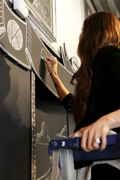 Chalk Artist Carolina Ro putting the finishing touch on our Kate's Paperie signage.