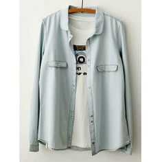Solid Color Long Sleeve Turn Down Collar Stitching Design Denim Shirt For Women