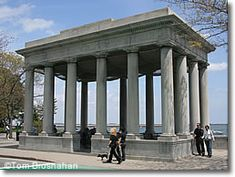 Today Plymouth Rock is sheltered by a monumental enclosure, designed by McKim, Mead & White and built in 1921, which stands in Massachusetts' Plymouth Rock State Park.