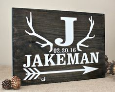 Personalized Hand Painted Rustic Antler Family Name Sign - Hunting Family - Cabin Decor - Bridal Shower Gift - Wedding Anniversary Gift
