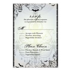 Gothic Wedding Invitations Fancy Gothic Bats Halloween Wedding RSVP Card