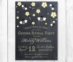 Items similar to What will it Bee? DIY Printable Baby Shower Invitation or Gender Reveal Invitation. on Etsy Gender Reveal Invitations, Printable Baby Shower Invitations, Baby Shower Printables, Bee Gender Reveal, Baby Shower Gender Reveal, Reveal Parties, Sign Quotes, New Baby Products, Etsy