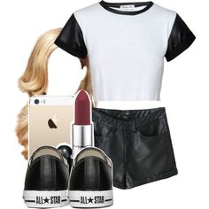 leather leggings instead Chill Outfits, Urban Outfits, Cute Outfits, Urban Fashion, Teen Fashion, Fashion Outfits, Womens Fashion, Dope Swag, Pretty Girl Swag