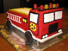 If you don't already know this about me, I have gotten into cake decorating, and got to take a class this winter. It was so much fun. Firefighter Birthday Cakes, Fireman Birthday, Fireman Party, Fire Truck Cupcakes, Dinasour Cake, Luigi, Fireman Sam Cake, Fire Fighter Cake, Wilton Cake Decorating