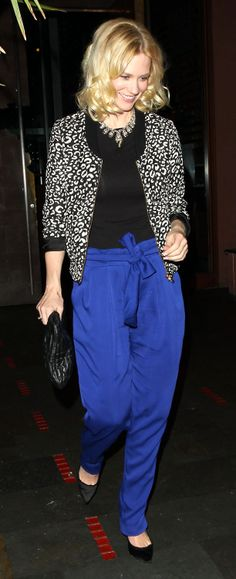 January Jones is so precious. She pulls of this Bold blue pants perfectly.