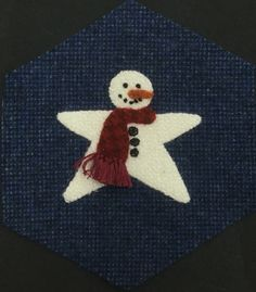Star Snowman--3 wrap French Knot eyes #8 Perle cotton; Mouth #8 Perle cotton Colonial knot; buttons tiny buttonhole wheel #8 Perle cotton; Fringe 2 rows Turkey Work 6 strands floss.
