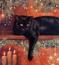 Black Cat in Holiday setting - Illustration by Chrissie Snelling Christmas Animals, Christmas Cats, Black Christmas, Vintage Christmas, Crazy Cat Lady, Crazy Cats, Decoupage, Black Cat Art, Black Cats