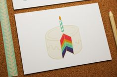 Rainbow Cake - Postcard #birthday © #Pramax* - 2015