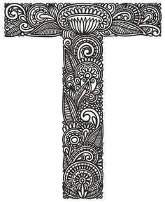 Illustration of Hand drawing ornamental alphabet vector art, clipart and stock vectors. Mandala Art, Mandala Drawing, Mandala Design, Doddle Art, Doodle Art Letters, Zentangle Drawings, Zentangles, Flower Henna, Tangle Art