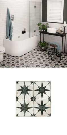 Creating the vintage look in our homes is a major design trend. This collection . Creating the vintage look in our homes is a major design trend. This collection of Antiquity Tiles allows you to inject a striking vintage, aged, anti. White Bathroom Tiles, Bathroom Floor Tiles, Modern Bathroom, Small Bathroom, Tile Floor, Black And White Bathroom Floor, Black Bathrooms, Bathroom Storage, Bathroom Mirrors