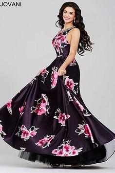 Black Floral Satin Prom Dress 34037