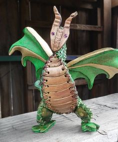 Leather Shoulder Dragon Green and Gold OOAK by artchik101 on Etsy
