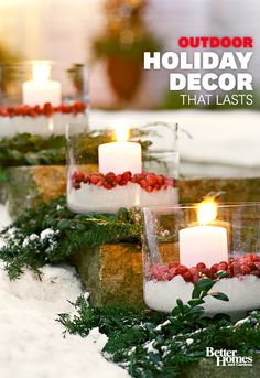 These holiday-inspired outdoor decorations will keep your home looking festive through the New Year: http://www.bhg.com/christmas/outdoor-decorations/holiday-inspired-outdoor-decorating-that-lasts/?socsrc=bhgpin111213holidayoutdoordecor