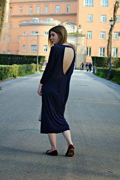 Style Trunk: Navy midi dress and mac
