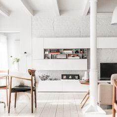 White #floors, white #walls, white #shelves. Does anyone else dream in #white? Designed by Jacek Kolasinski of design group LOFT \\\ Photo by Carolina Bak