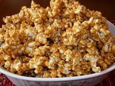 FABULOUS peanut butter popcorn. Instead of popcorn, you can use cereal such as rice chex or rice crispies!