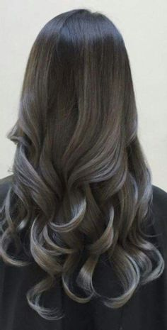 Blonde and dark brown hair color ideas. Top best Balayage hairstyles for natural black and brown hair. Balayage hair color ideas with blonde, brown, caramel. Top Balayage hairstyles to completely new look. Grey Balayage, Balayage Hair, Balayage Straight, Natural Hair Styles, Long Hair Styles, Natural Black Hair, Hair Highlights, Silver Highlights, Ombre Hair