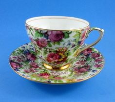 """Striking Royal Winton """" Summertime"""" Chintz  Tea Cup and Saucer Set"""