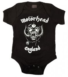 This officially licensed, Motorhead baby one piece for your little one features the classic Motorhead logo. Motorhead was formed in 1975 in England by bassist Lemmy. They've been described as British                                                                                                                                                       More